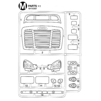Freightliner Cascadia Grill Chrome Parts M (M / 19115387) 1/14