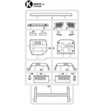 Volvo FH16 Mat Chrome Parts (K / 19115488) 1/14